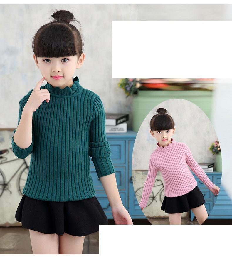 knitting big baby girls sweaters kids winter sweater 2016 long sleeve tops knitted kids sweaters girls pink green black kids top (20)