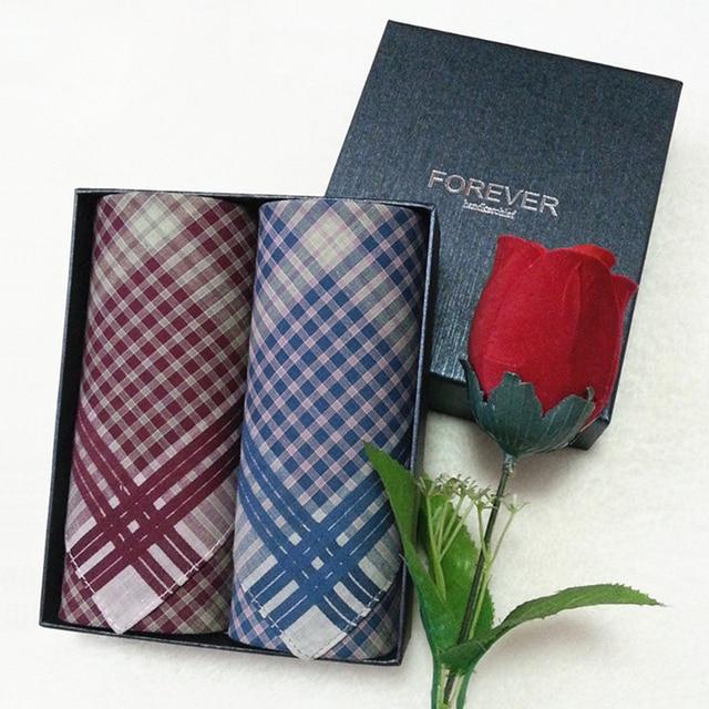 d49325f32f73 2pcs/set Male 100% cotton handkerchief Men Check Plaid Pocket Square  Handkerchiefs 12 items
