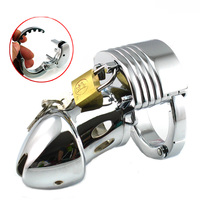 Male Chastity Holder Cage Device Adjustable Metal Cock Lock Ring Penis Cage Belt Sex Toy for Men