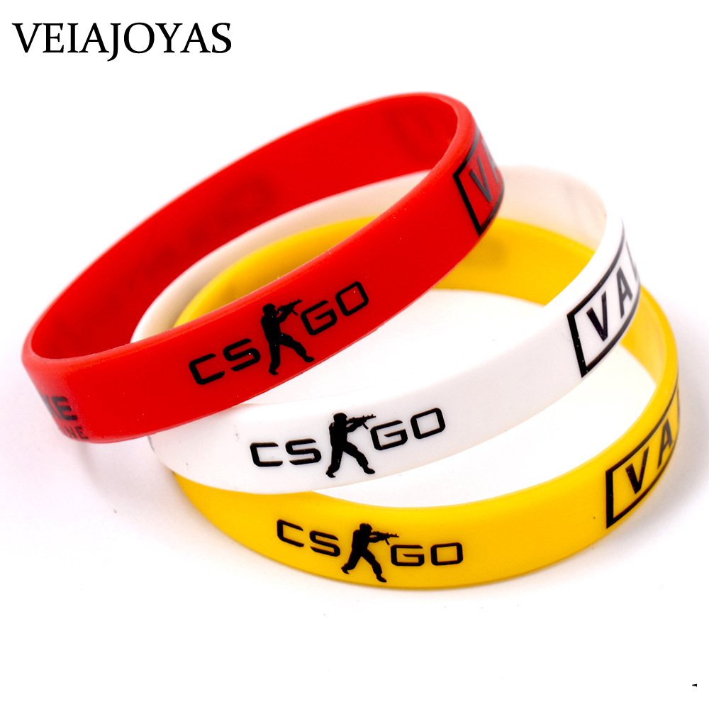 CSGO Counter Strike Bracelet Red Yellow White Cross Fire Braslet for Male Game Players CS GO Silicone Rubber Bracelets Bangles