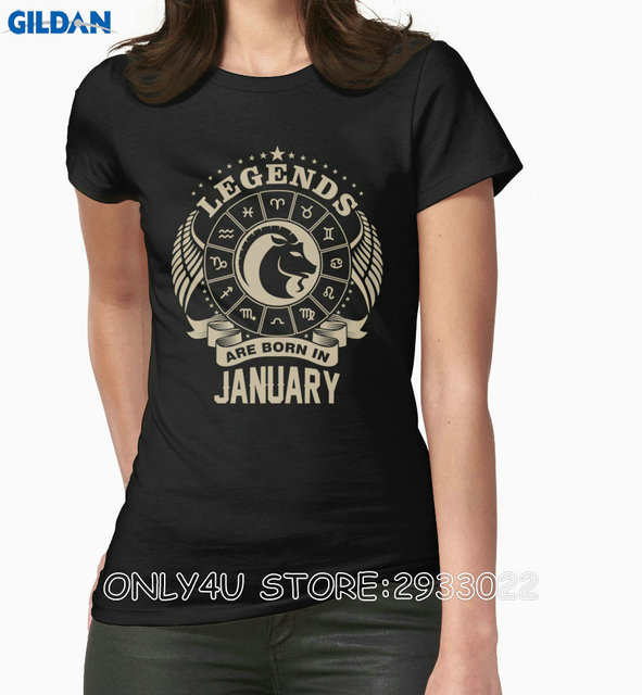 2e2ff793818 Only4U Custom T Shirts Women S O-Neck Legends Are Born In January Is  Capricorn Tee
