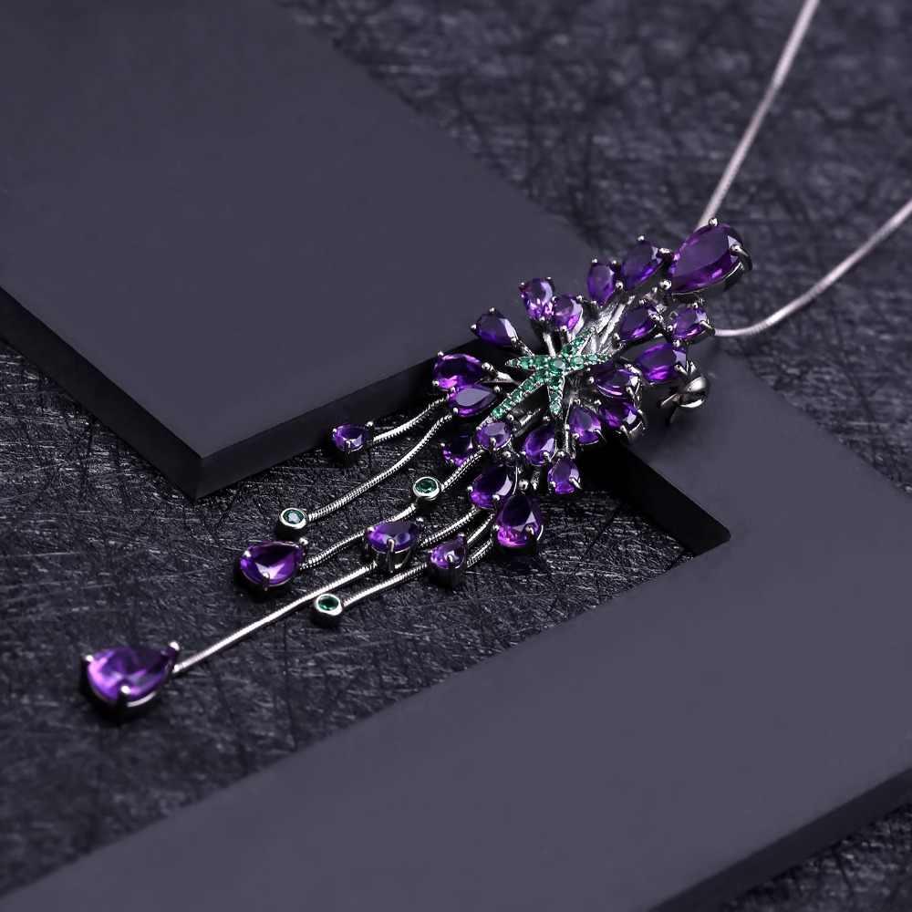 Pulseira de balé 8.88ct natural ametista do vintage gótico punk 925 sterling sliver gemstone pingente colar para jóias de festa feminino