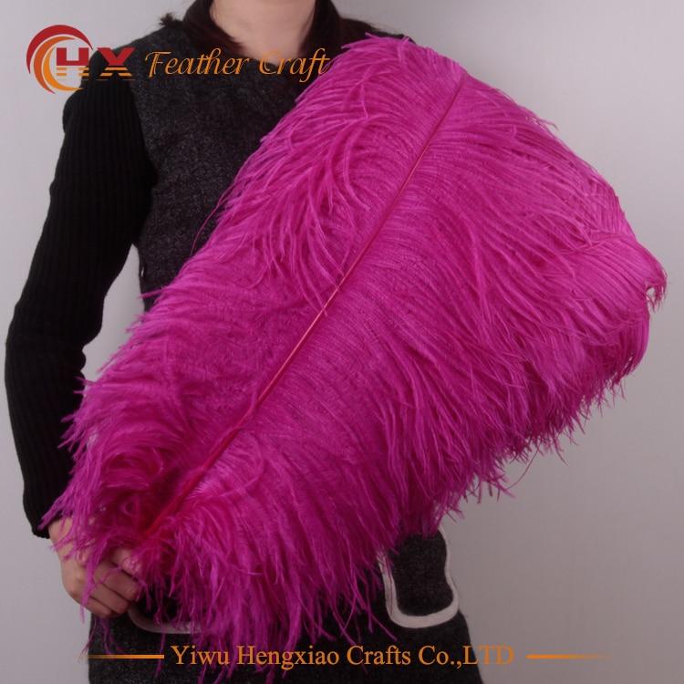 Wholesale Hard Rod 10pcs/lot Natural Hot Pink Ostrich Feathers 15-75cm /6-30