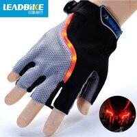 Leadbike 2017 New Bicycle Gloves Half Finger Men/Women LED Mountain Road Bike Sports Anti slip Lightning Gloves Ultra Breathable