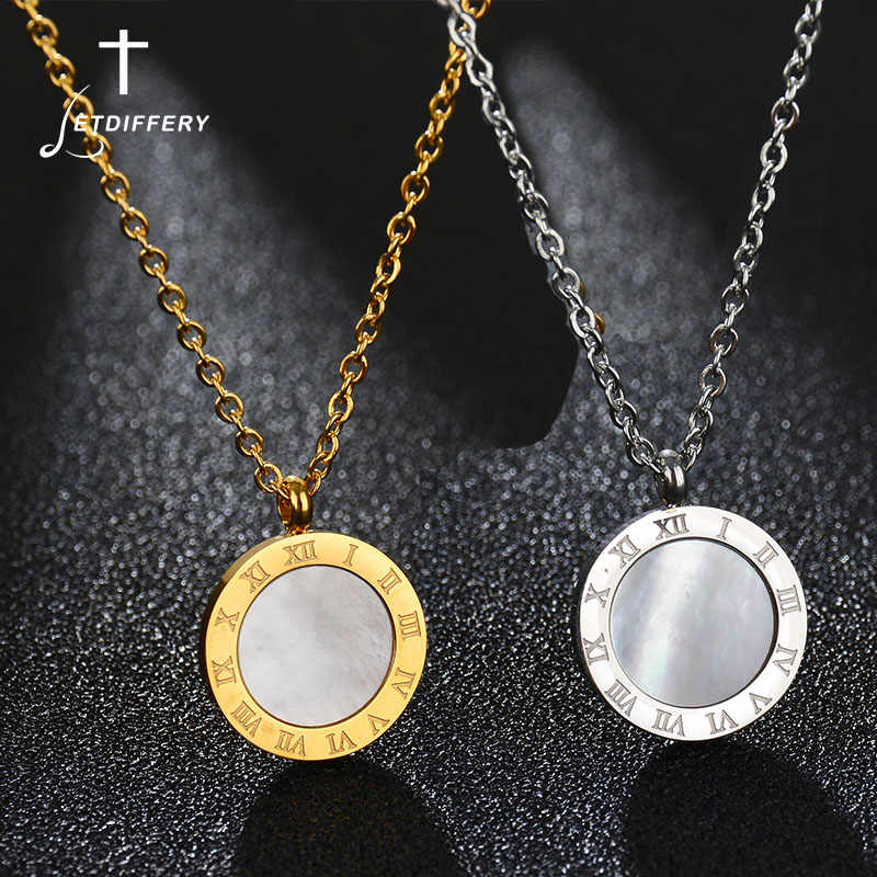 Letdiffery Luxury Gold Roman Letter Necklace Stainless Steel High Polish Small Round Necklace for Women Girl Jewelry