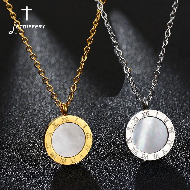 Dynamisch Letdiffery Luxus Gold Römischen Brief Halskette Edelstahl Hochglanz Kleine Runde Halskette Für Frauen Mädchen Schmuck In Vielen Stilen Halsketten & Anhänger