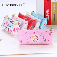 Free Shipping New Arrival 6 Fresh Colors PU Leather Pecncil Case Girl Women Bags wallet  Pen Holder Bag Box Students Stationery