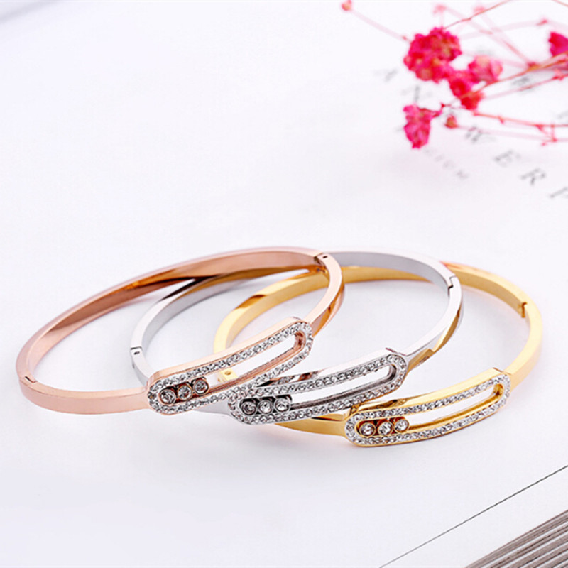 2018 Deluxe 316L Stainless Steel hollow out Crystal Cuff Bracelet Bangle with 3pcs slidable Crystal Stone