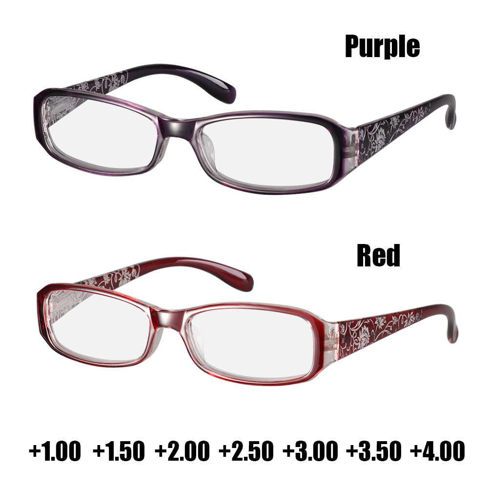แฟชั่นดอกไม้พิมพ์เรซิ่นแว่นตาสำหรับผู้ชายผู้หญิงแว่นตาป้องกันแว่นตาPresbyopic + 1.0 ~ + 4.0