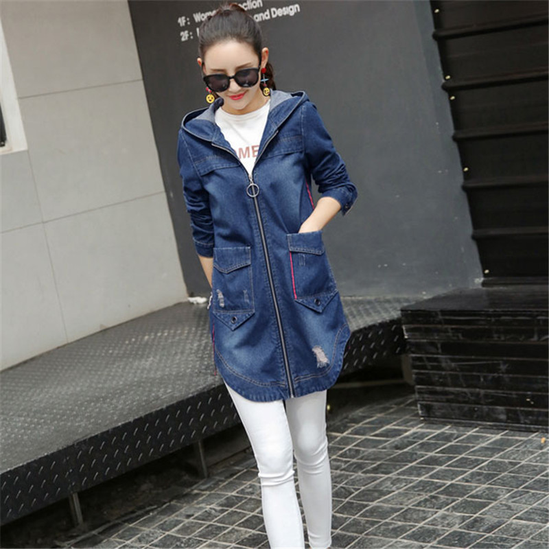 Summer women denim outerwear 2018 new Slim cowboy jacket womens medium long hooded large size ladies windbreaker CW350