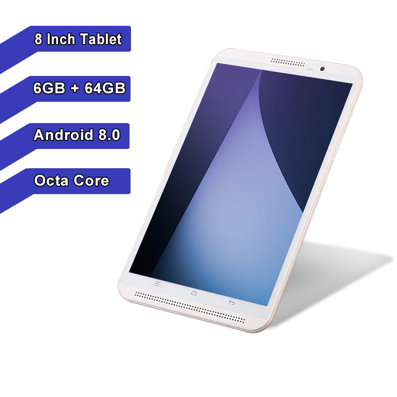 2019 nouveau 8 pouces tablette pc Android 8.0 octa core RAM 6 GB ROM 64 GB 1280*800 IPS Bluetooth GPS double carte SIM 4G téléphone Smart phablet