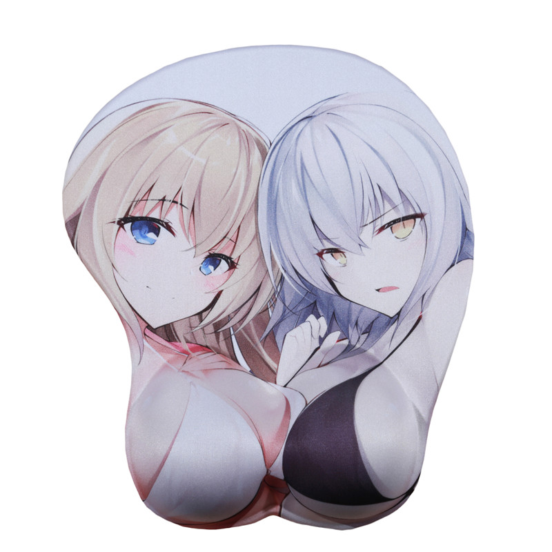 FFFAS Fate 3D Breast Hip Mouse Pad Mat Black White Joan Of Arc Wrist Rest Mousepad Japan Anime Drop Shipping Cartoon Cushion