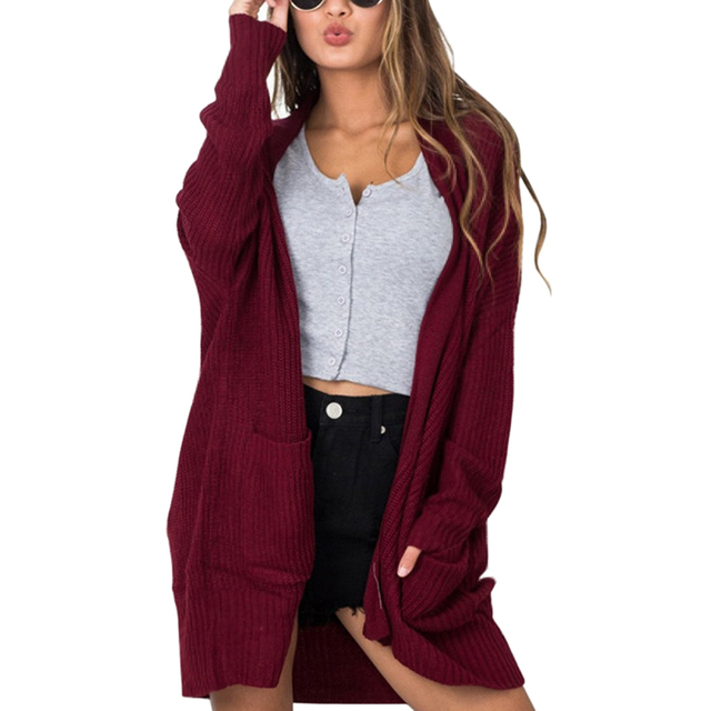 Phẳng Dệt Kim Đan Áo Len Phụ Nữ Dài Cardigan Phụ Nữ Mùa Xuân Mùa Thu Outwear Mở Stitch Mơ Rượu Vang Đỏ Màu Xanh Đen Áo Len