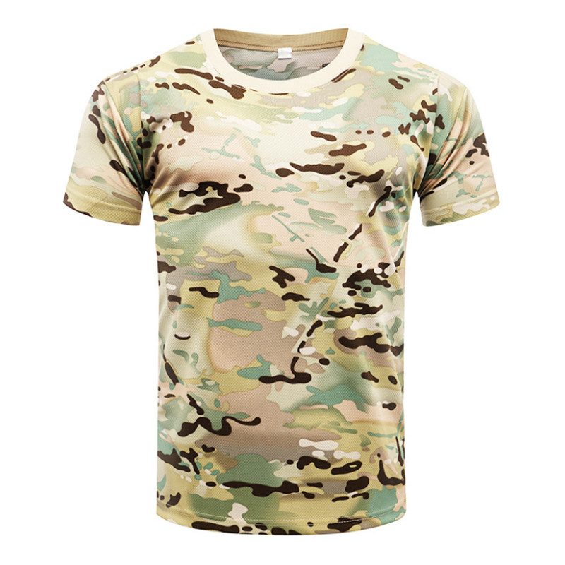 2019 Camouflage Quick Dry Breathable T-Shirt Tights Army Tactical T-shirt Mens Compression Shirt Fitness Summer Body Bulding