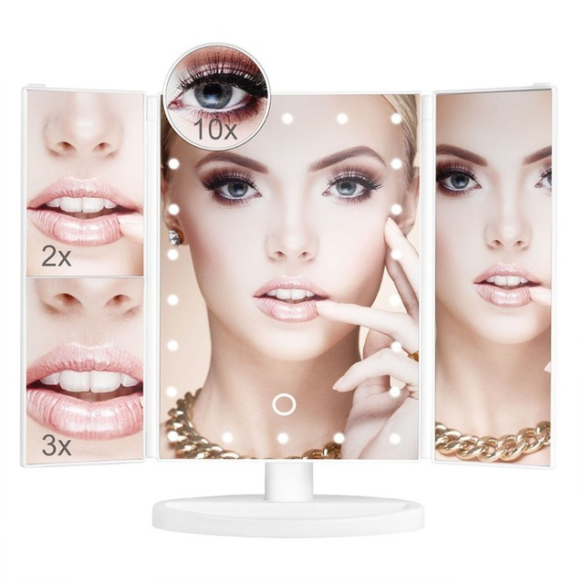 Royressan Vanity Makeup Mirror 22 LED Lighted Touch Screen 1X/2X/3X/10X Magnification Folding Adjustable table LED Mirror