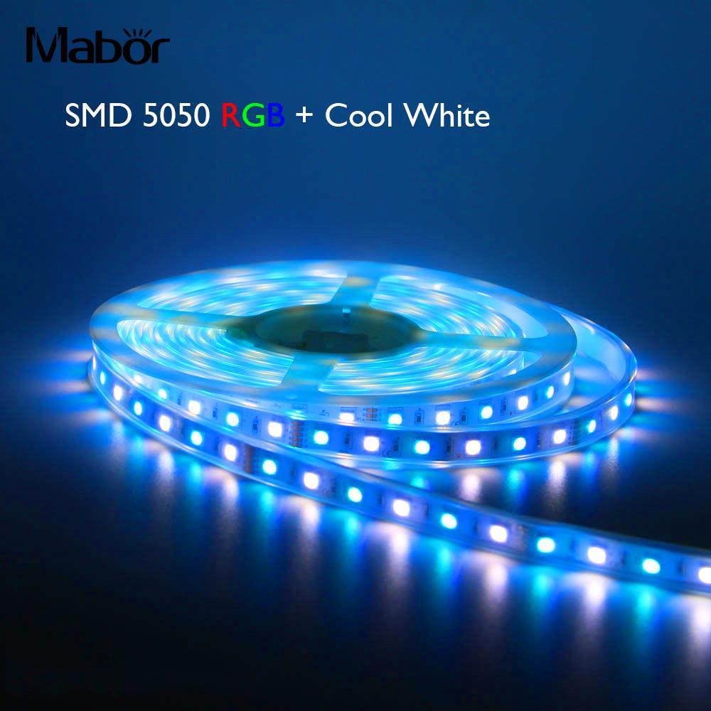 Flexible Lamp String LED Strip Light Bar Multicolor Wardrobes Lighting 5M RGB+Cool White Soft Durable 60leds/M 300 Led
