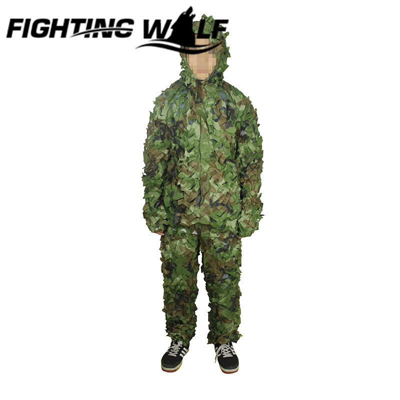ФОТО 3D Leaves Camouflage Leaf Hunting Clothing Camo Sniper Archery Set Hunt Ghillie Suit Military Army Combat Camo Suit for Training
