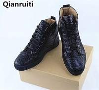 Lace Up High Top Shoes Men Black Snake Pattern Boots