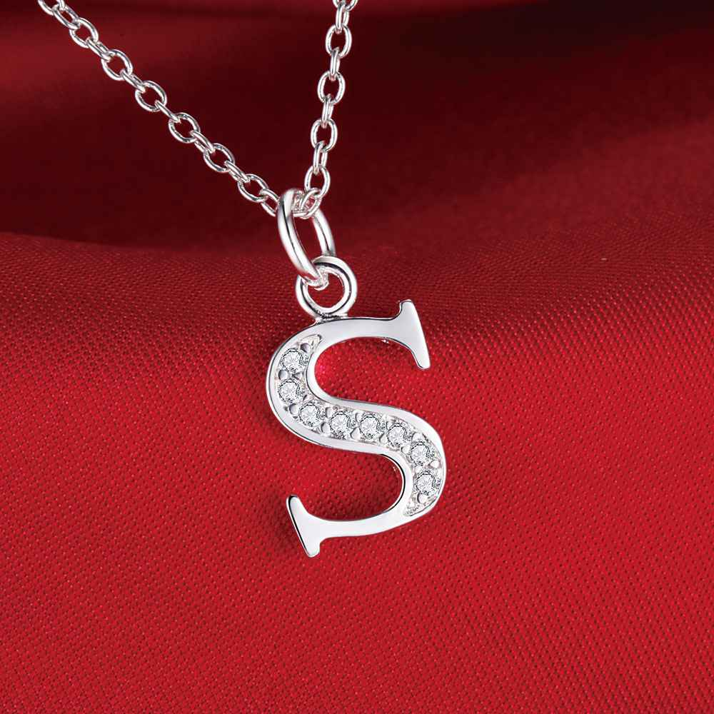 Letter s bling zircon silver plated necklace silver pendant jewelry letter s bling zircon silver plated necklace silver pendant jewelry epnjbdsr lmjgbmqf in chain necklaces from jewelry accessories on aliexpress aloadofball Choice Image