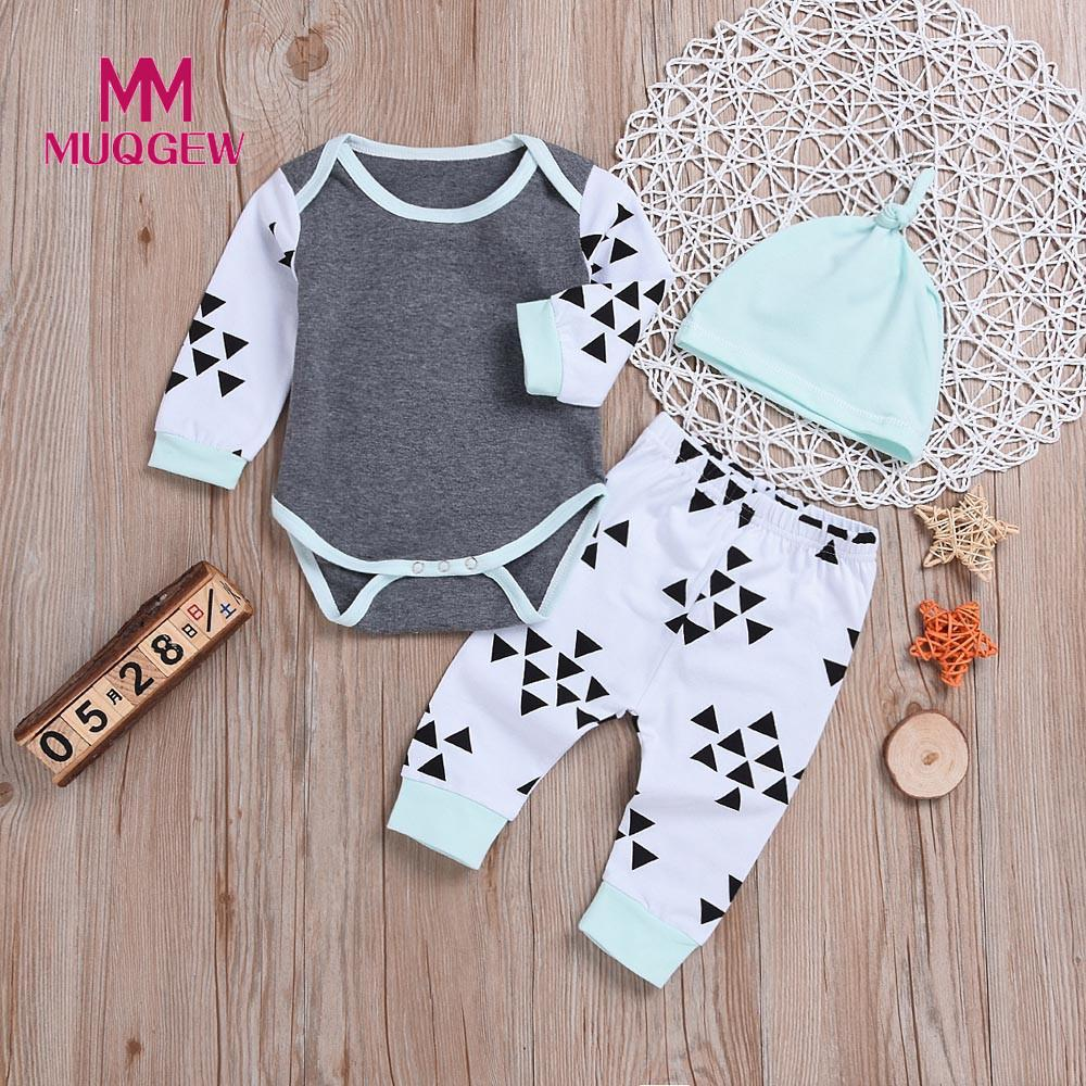 be5ab32d402f8 MUQGEW Newborn Baby Clothes Tops T-Shirts Long Sleeve Pants Legging Hat  Casual Clothing 3PCS