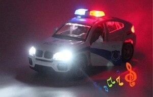 Image 5 - Vehículo de juguete de BM W X6 de alta simulación para niños, juguete de aleación de Metal fundido a presión, coche de policía con sonido y luz, modelo de juguete para niños, 1/32