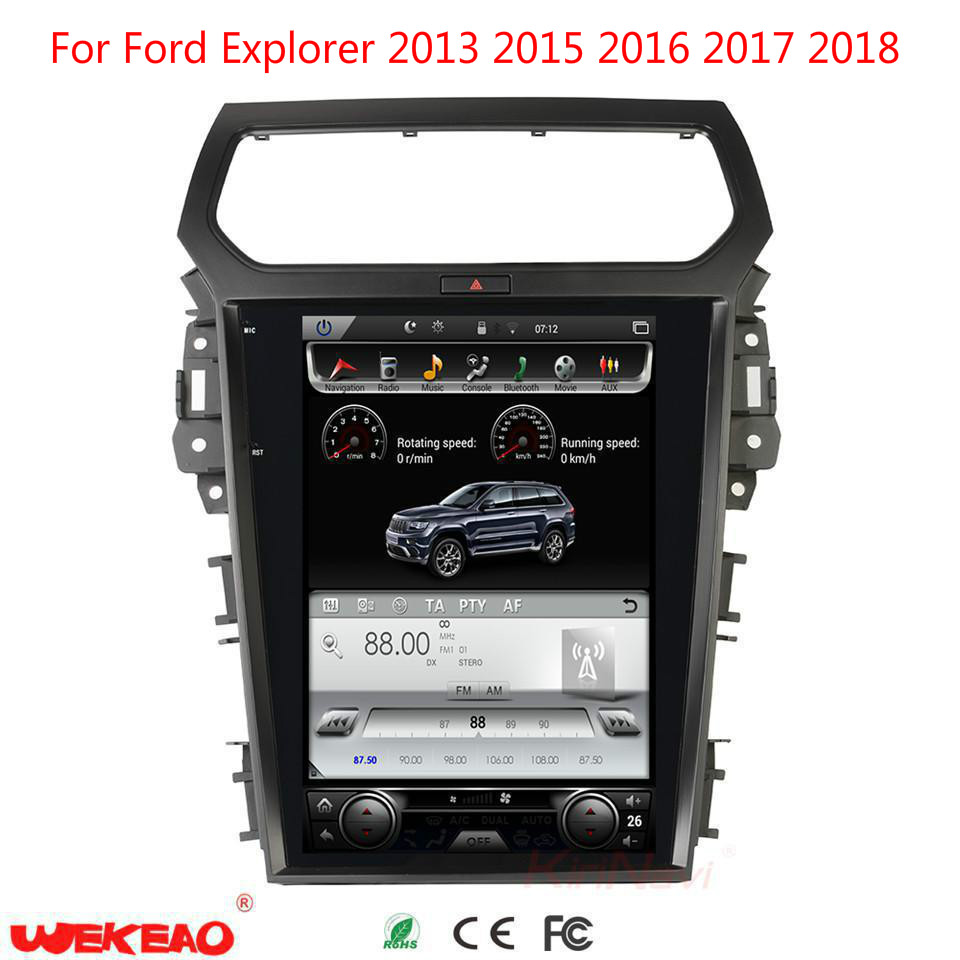 wekeao Tesla Style 12.1 inch big Screen Android 6.0 GPS Navigation car Radio For Ford Explorer 2013 2018 Car DVD Video player