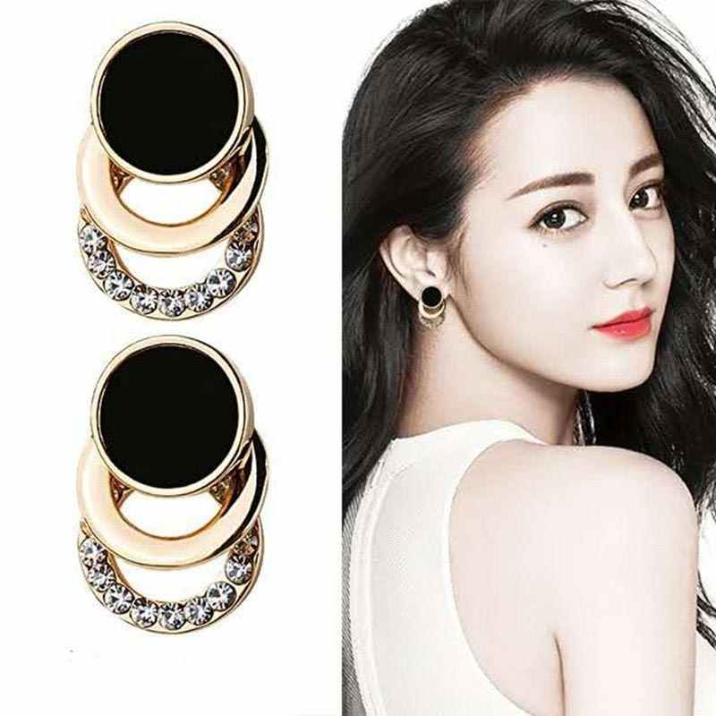 2019 Fashion Stud Earrings Korea Black Gold Color Round Metal 3 Layer Crystal Earrings for Women Rhinestone Bridal Jewelry EB113