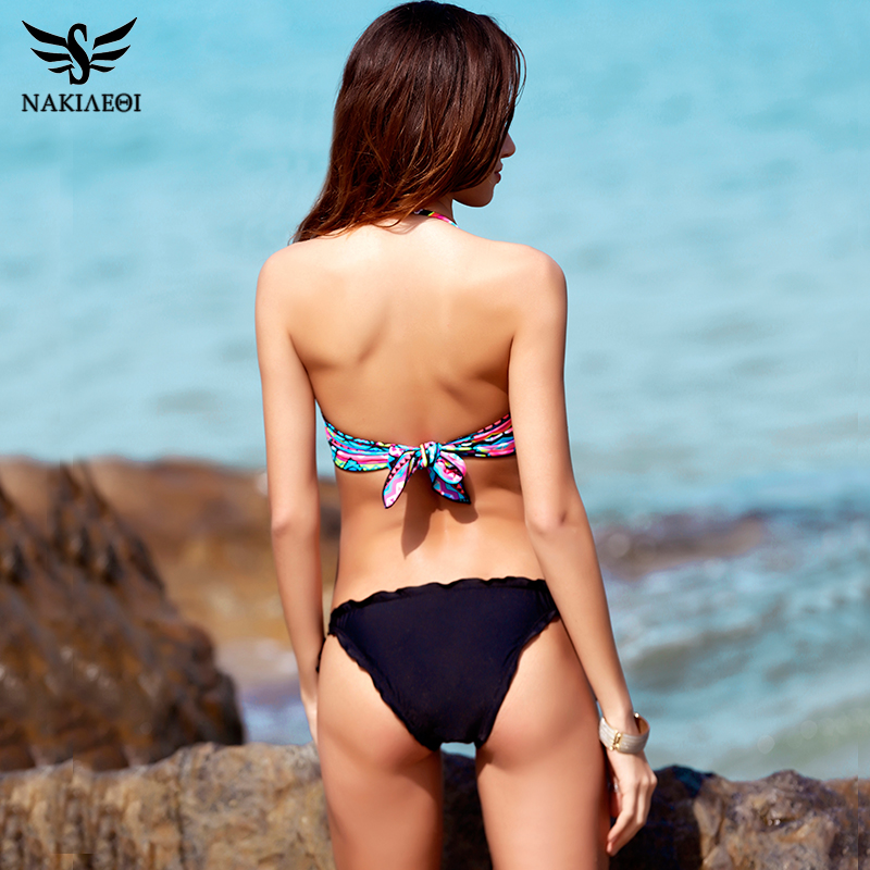 NAKIAEOI 2018 New Sexy Bandeau Bikini Women Swimwear Push Up Swimsuit Female Brazilian Bikini Set Printed Floral Bathing Suits 2