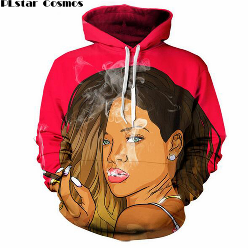 PLstar Cosmos 2018 Autumn New Fashion Women/Men 3d Hoodies Bad Gal Rihanna Funny Print Casual Hooded Sweatshirt free shipping