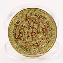 1PC Gold/Silver Plated Mayan Aztec Prophecy Calendar Commemorative Coin Art Collection Gift