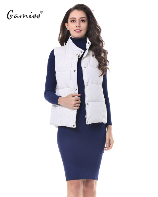b013ca72f90 Gamiss Women Winter Duck Down Vest Sleeveless Jacket Stand Collar Zip Up  Front Gilet Quilted Padded Down Vest Waistcoat Autumn
