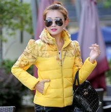 Размер M ~ 2XL Желтый Цветок Женщины Down Зимняя Пальто Хлопка 2016 Новый 8 Цвет Молнии Теплый Тонкий Пальто Твердые карманы Ветровки