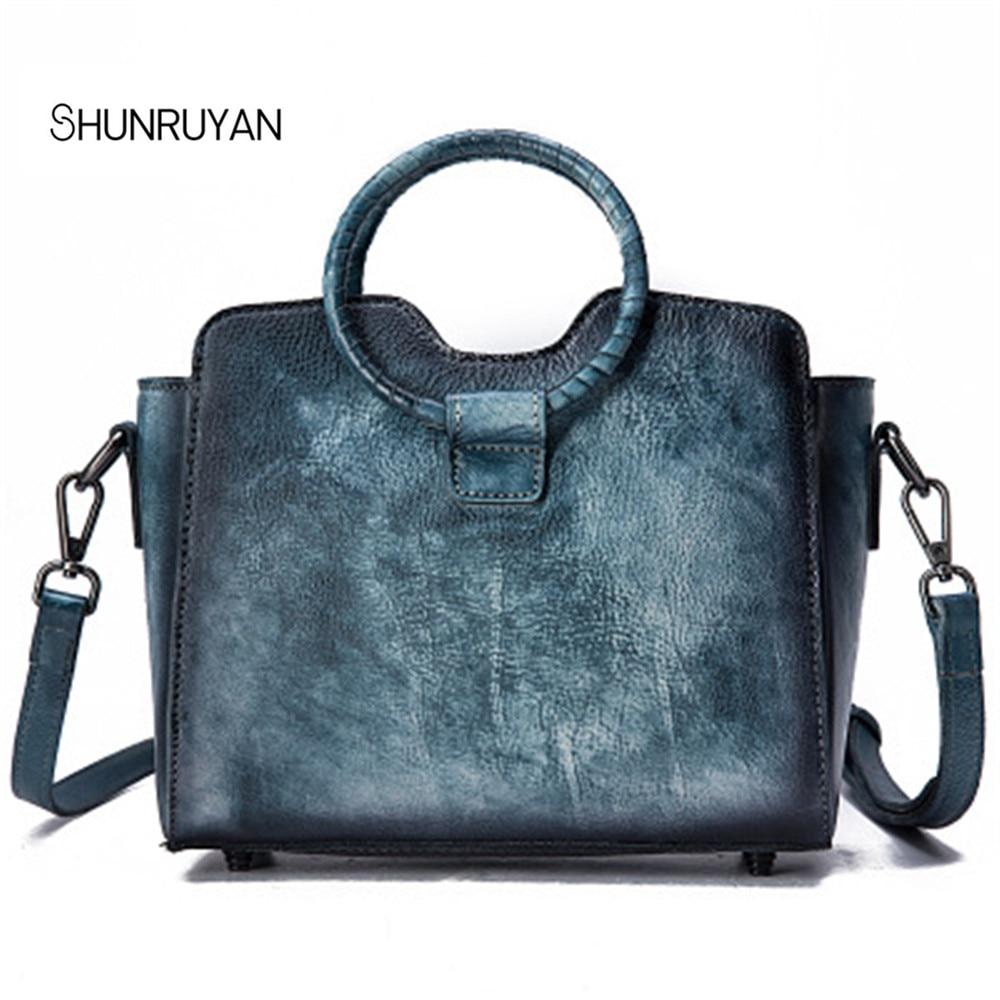 Здесь продается  SHUNRUYAN 2018 Genuine Leather cowhide Women Luxury Handle Shoulder Bag Vintage Ring handle Wipe color Ladies Mini shoulder bags  Камера и Сумки
