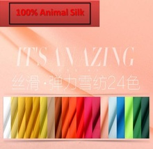 100% reiner maulbeer Weichen Satin Sik Stoff Genießen seidige-farbe Chiffon stretch mode stoff schneiderei material Hof H649-