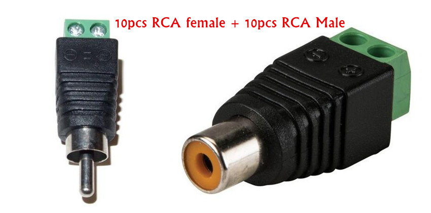 10 PAIRS CAT5 To Camera CCTV Video Balun RCA female+male jack AV Screw Terminal Connector, RCA MF to terminal Block