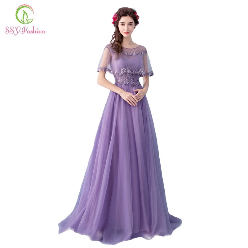 SSYFashion New   Bridesmaid     Dresses   Sweet Purple Lace Appliques Floor-length Party Formal Gown Robe De Soiree