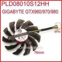 Free Shipping POWER LOGIC PLD08010S12HH 12V 0 35A 76mm For Gigabyte GTX960 GTX970 GTX980 Graphics Card