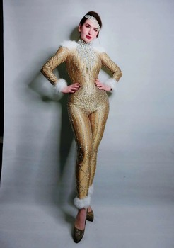 Sexy Gold Sparkly Stones Bodysuit Women Birthday Celebrate Jumpsuit Singer Dancer Performance Fashion Stretch Leggings Outfit yellow tiger pattern printed sexy jumpsuit skinny leggings rompers nigthclub singer dancer performance stage show nude costume