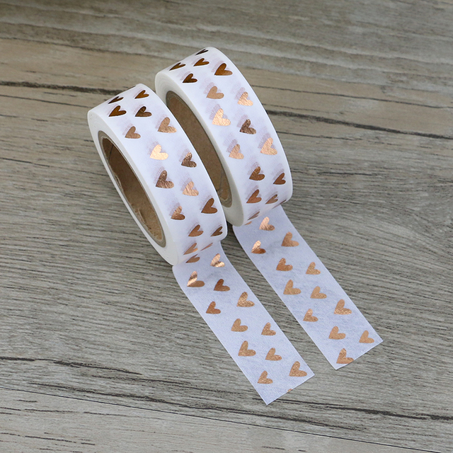 New 1pcs Foil Washi Tape Heart Japanese 1.5*10meter Kawaii Scrapbooking Tools Masking Tape Christmas Photo Album Diy Decorative