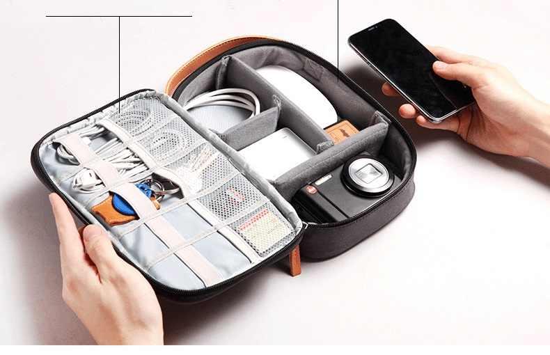 Mềm mại Du Lịch cứng Túi Điện Tử Thiết Bị ĐỊNH VỊ Điện Thoại Di Động Sạc adapater cáp USB sạc Người Tổ Chức ngân hàng Điện