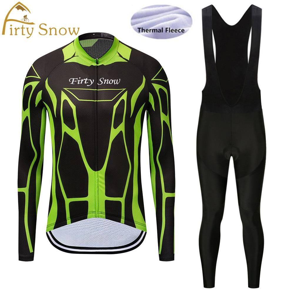 Firty Snow 2018 New arrival Winter Thermal Fleece mavic Cycling Jersey Long Sleeve Bib Pants Set Bike Bicycle Outdoor&Sports-035