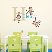 2016 NEW Three Naughty Monkeys Combination Wall Stickers Custom Kids Name Vinyl Decals Wall Sticker For