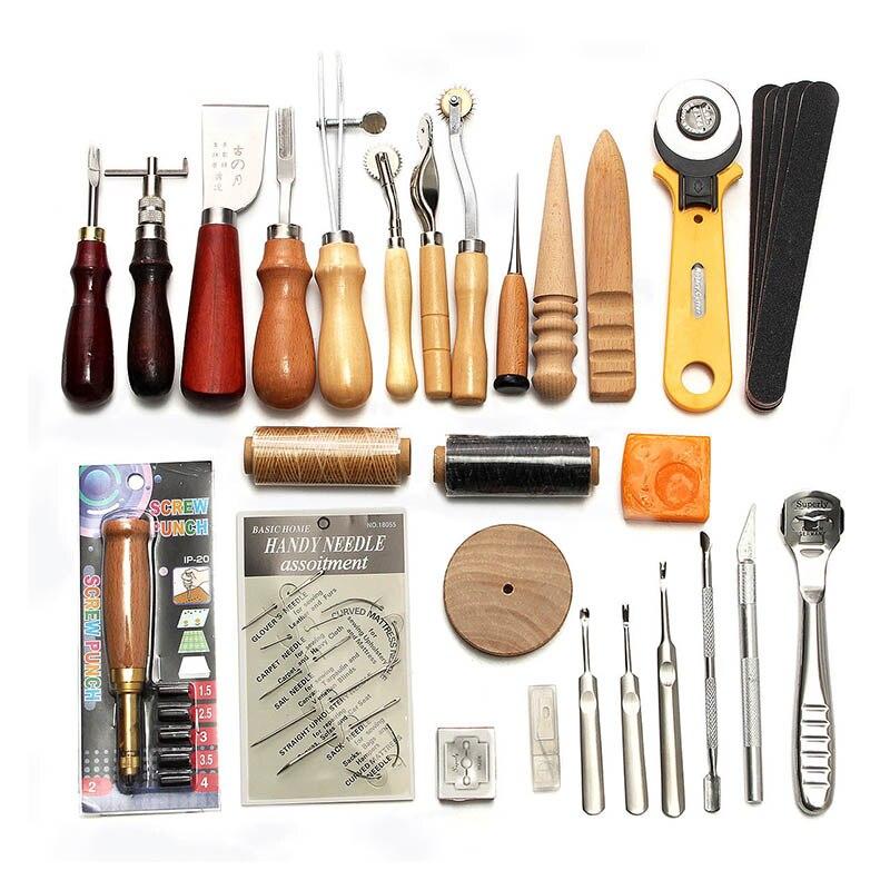 37 шт. Кожа Craft Инструменты комплект ручного шитья шить удар Carving седло для нарезания E2S