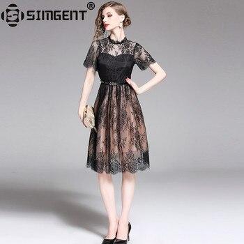 Simgent Women Dress Summer Fashion See Through Mesh Patchwork Short Sleeve A Line Lace Dresses Vestidos Dames Jurken SG95172