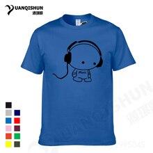 YUANQISHUN High Quality T Shirts Men Casual Brand T-Shirts Fashion Headset Music Cartoon Printed O-Neck TShirt Men Cotton Tee