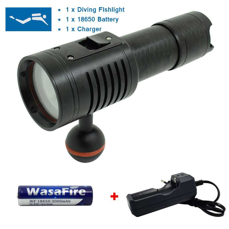 4*White+2*Red Led Diving Flashlight 18650 Dive Torch Underwater Photography Video Light Lamp Waterproof LED Scuba Photo Lighting