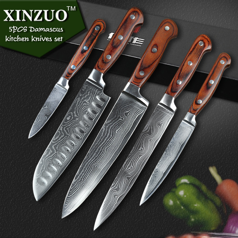 Quality Kitchen Knives: XINZUO High Quality 5pcs Kitchen Knife VG10 Damascus
