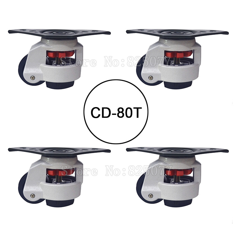 4PCS CD-80T Load Bearing 500kg/pcs Level Adjustment Nylon Wheel and Triangular Plate Leveling Caster Industrial Casters JF1563 5 swivel wheels caster m12 industrial castor universal wheel nylon rolling brake medical heavy casters double bearing wheel