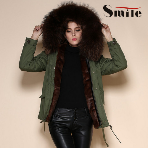 Womens Mr Army Green Parka Real Fur Hood Winter Coats Ladies Long ...