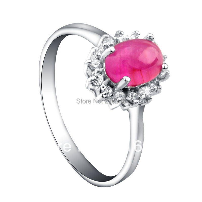 Natural Pink Ruby Ring Egg Cut In 925 Sterling Silver Fancy Sapphire Jewelry Fashion Ele ...